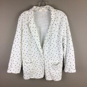 Caslon black & white polka dot casual blazer